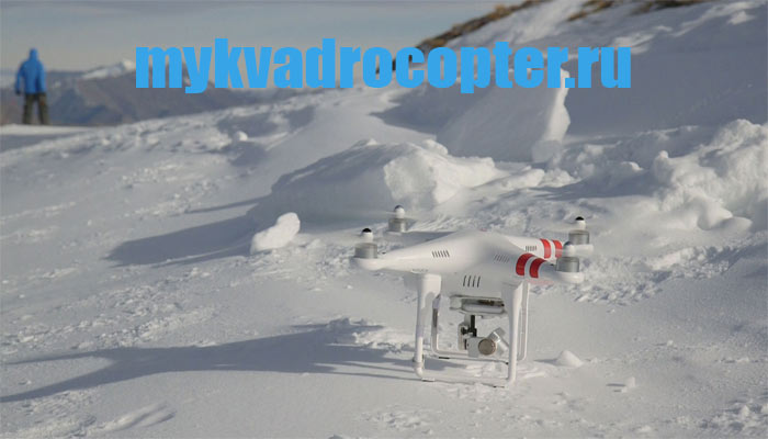 kvadrokopter v snegu